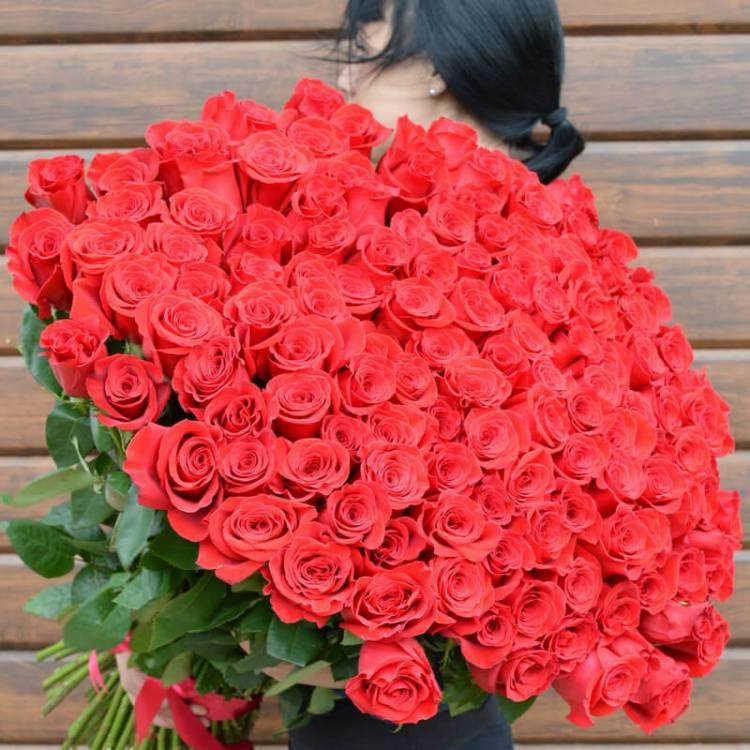 101 алая роза